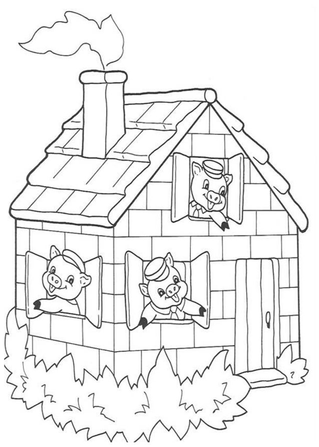 Free Coloring Pages Of 3 Little Pigs Stick House Three Pigs Coloring Pages
